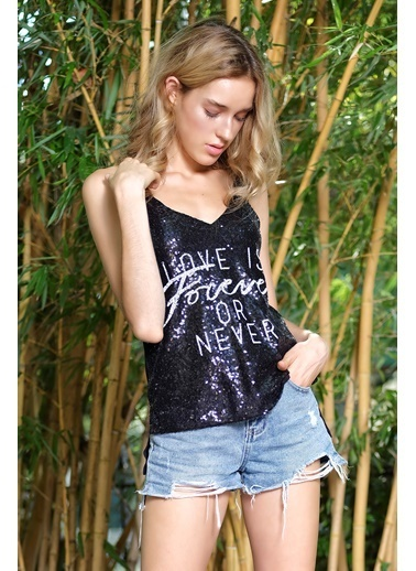 İroni Payetli Sloganlı Bluz Siyah